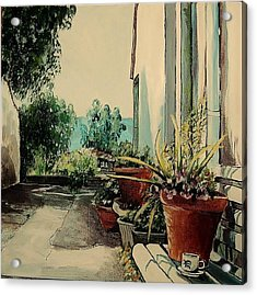 Coffee In The Street Acrylic Print by Anne Parker