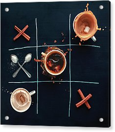 Coffee Tic-tac-toe Acrylic Print by Dina Belenko Photography