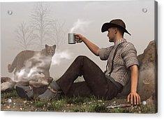 Coffee With A Cougar Acrylic Print by Daniel Eskridge