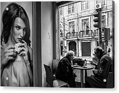 Coffeea?s Conversations Acrylic Print by Luis Sarmento