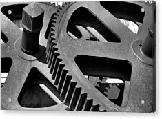 Acrylic Print featuring the photograph Cogwheels In Black And White by Nadalyn Larsen