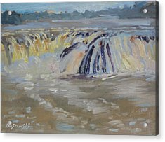 Acrylic Print featuring the painting Cohoes Falls by Len Stomski