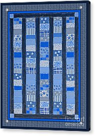 Coin Quilt -  Painting - Blue Patches Acrylic Print by Barbara Griffin