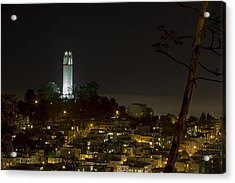 Coit Tower By Night Acrylic Print