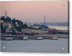 Coit Tower Sits Prominently On Top Of Telegraph Hill In San Francisco Acrylic Print by Scott Lenhart