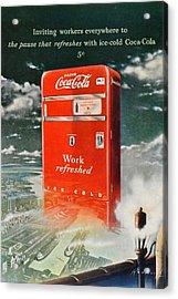 Coke - Coca Cola Vintage Advert Acrylic Print by Georgia Fowler