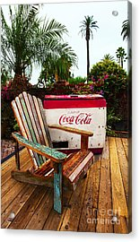 Vintage Coke Machine With Adirondack Chair Acrylic Print by Jerry Cowart