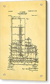 Colburn Flat Glass Working Machine Patent Art 1902 Acrylic Print by Ian Monk