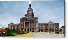 Cold And Blustery Day At The Texas State Capitol Austin Ektachrome 64 Asymmetrical View  Acrylic Print