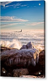Cold Morning Lighthouse Acrylic Print by Jeff Sinon