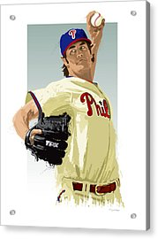 Cole Hamels Acrylic Print by Scott Weigner