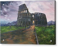 Acrylic Print featuring the painting Coliseum Rome by Jean Walker