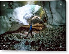 Collapsed Ceiling Of A Glacial Tunnel Acrylic Print by Peter J. Raymond
