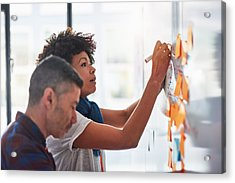 Colleagues Brainstorming In A Tech Start-up Office Acrylic Print by 10'000 Hours