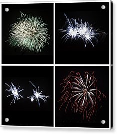 Collection Of Bright Colorful Firework Burst Explosions On Black Acrylic Print by Matthew Gibson