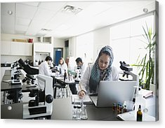College Student Wearing Hijab At Laptop In Science Laboratory Acrylic Print by Hero Images
