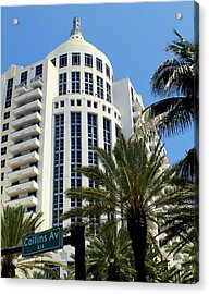 Collins Ave Acrylic Print by Karen Wiles