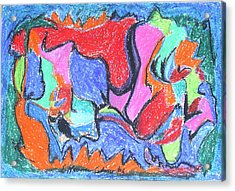 Acrylic Print featuring the painting Collision Course by Esther Newman-Cohen