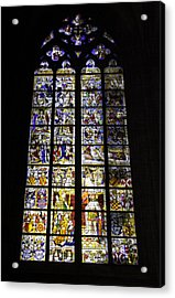 Cologne Cathedral Stained Glass Window Of St Peter And Tree Of Jesse Acrylic Print