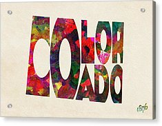 Colorado Typographic Watercolor Map Acrylic Print