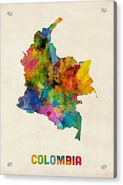 Colombia Watercolor Map Acrylic Print by Michael Tompsett