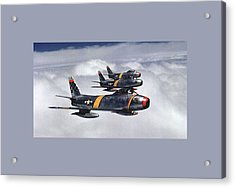 Colonel Ben O Davis Leads F 86 Sabres Over Korea Large Border Acrylic Print by L Brown