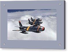 Colonel Ben O Davis Leads Flight F 86 Sabres Over Korea Medium Border Acrylic Print by L Brown