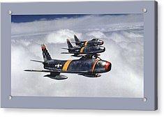 Colonel Ben O. Davis Leads Flight F 86 Sabres Over Korea Small Border  Acrylic Print by L Brown
