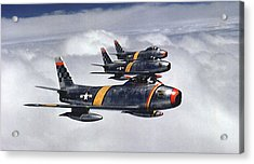 Colonel Ben O. Davis Leads F 86 Sabres Over Korea Upsized Acrylic Print by L Brown