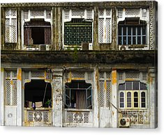 Colonial Facade Bo Soon Pat Street 8th Ward Central Yangon Burma Acrylic Print