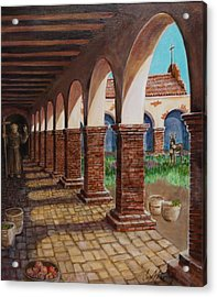 Colonnade And Father And Donkey  Acrylic Print by Jan Mecklenburg