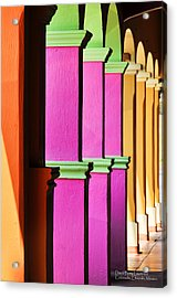 Acrylic Print featuring the photograph Colorful Colonnade - Lake Chapala - Mexico - Travel Photography By David Perry Lawrence by David Perry Lawrence