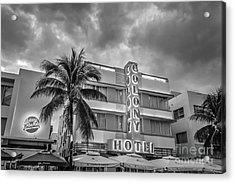 Colony And Johnny Rockets Art Deco District Sobe Miami - Black And White Acrylic Print