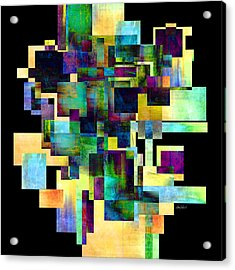 Color Block On Black One Abstract - Art Acrylic Print by Ann Powell