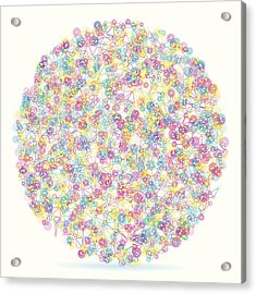Color Circle Abstract Network Pattern Acrylic Print by FrankRamspott