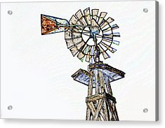 Color Drawing Of Old Windmill 3009.04 Acrylic Print by M K  Miller