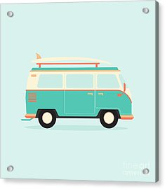 Color Full Surfer Van. Transportation Acrylic Print