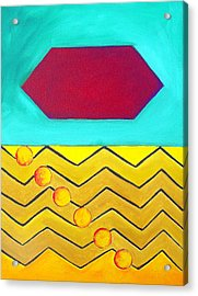 Acrylic Print featuring the painting Color Geometry - Hexagon by Carolyn Goodridge