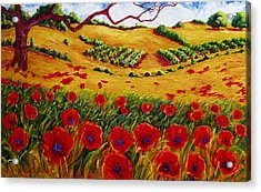 Color In The Vineyards Acrylic Print by Lisa V Maus