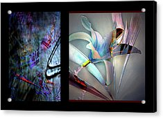 Color Palete Of A Pink And Blue Lily Acrylic Print by Irma BACKELANT GALLERIES