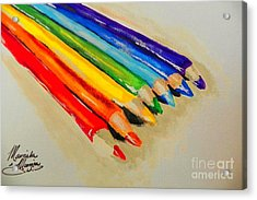 Color Pencils Acrylic Print