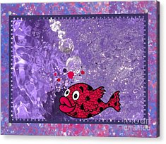 Color Your World Kids Bath Fish Acrylic Print by Margaret Newcomb