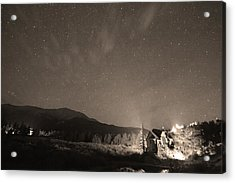 Colorado Chapel On The Rock Dreamy Night Sepia Sky Acrylic Print