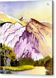 Acrylic Print featuring the painting Colorado Mountains In Their Purple Majesty by Nan Wright