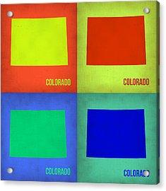 Colorado Pop Art Map 2 Acrylic Print by Naxart Studio