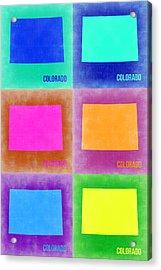 Colorado Pop Art Map 3 Acrylic Print by Naxart Studio