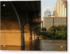 Colorado River Running Under Congress Street Bridge In Austin Texas Acrylic Print