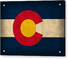 Colorado State Flag Art On Worn Canvas Acrylic Print