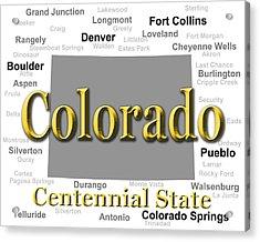 Colorado State Pride Map Silhouette  Acrylic Print
