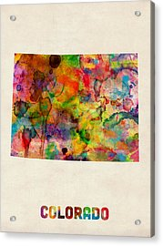 Colorado Watercolor Map Acrylic Print